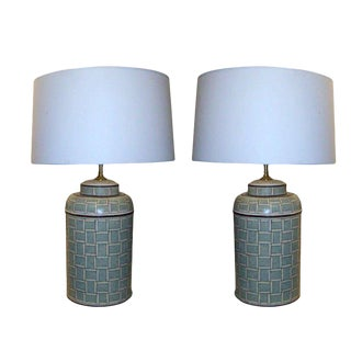 A Pair of Custom Hand-Painted Tole Canister Lamps For Sale