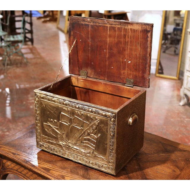 Late 19th Century 19th Century French Repousse Brass and Wood Box With Sailboat Decor For Sale - Image 5 of 10