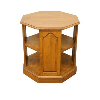 Ethan Allen Heirloom Nutmeg Maple Octagonal Tiered End / Lamp Table For Sale