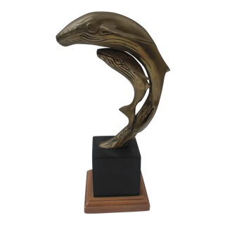 Brass & Black Base Whale and Calf Sculpture For Sale