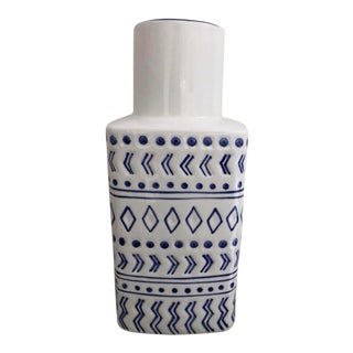 Blue & White Geometric Design Vase For Sale