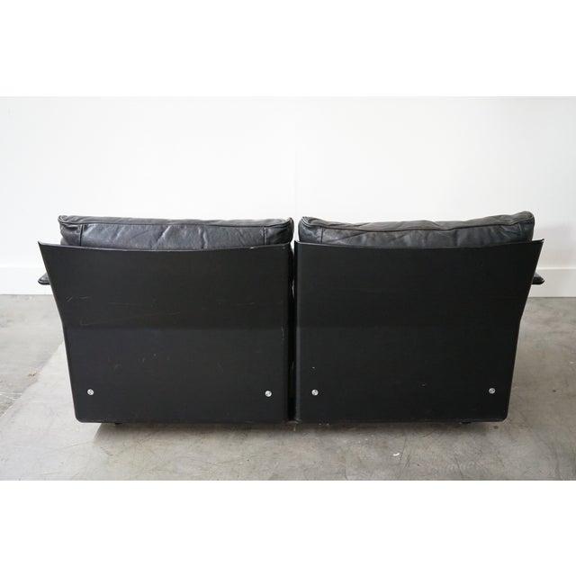 Dieter Rams Vintage Black Leather Sofa by German Designer Dieter Rams For Sale - Image 4 of 8