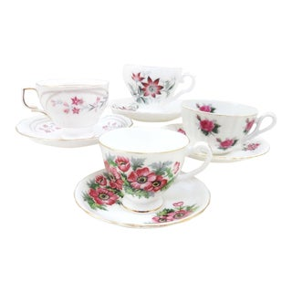Vintage Mismatched China Tea Cups & Saucers - Set of 4
