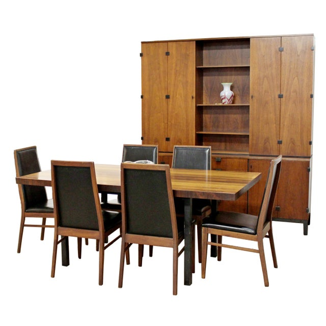 For your consideration is a magnificent dining set, including table by Milo Baughman for Directional with Rosewood, walnut...