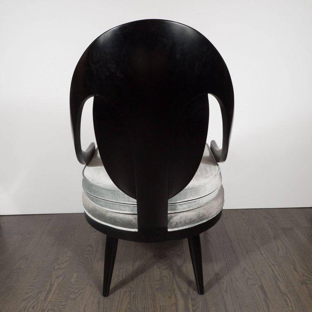 1960s Pair of Mid-Century Modern Spoon Back Occasional Chairs in Ebonized Walnut For Sale - Image 5 of 8