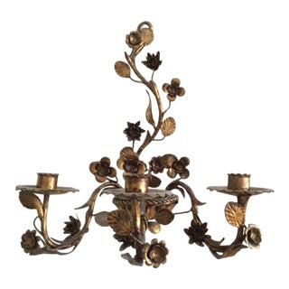 1920s Italian Gilt Metal Candle Sconce For Sale