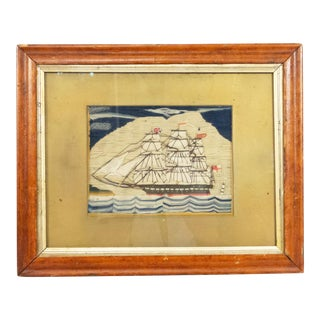 English Victorian Framed Ship Embroidery For Sale