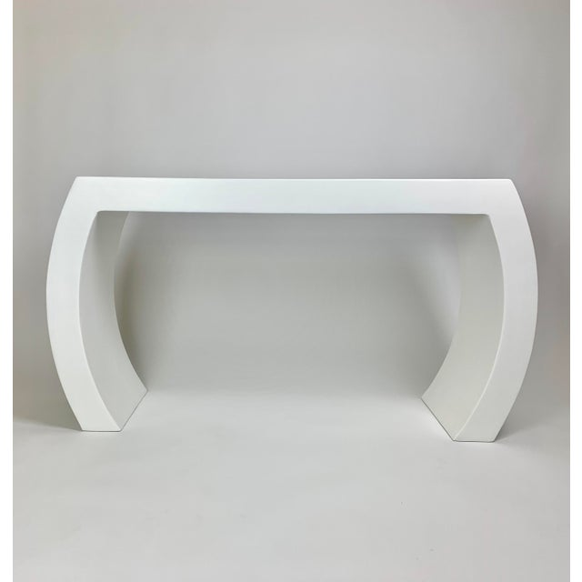The Lucy Curved Smooth Plaster Modern Waterfall Console For Sale - Image 4 of 4