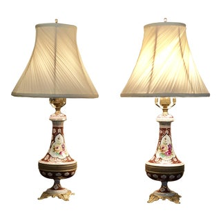 Antique French Porcelain Lamps - A Pair For Sale