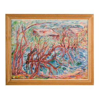 "Mid 20th Century ""Fruhling am Teich (Spring at the Pond)"" Landscape Oil Painting by Elisabeth Merlicek, Framed For Sale"