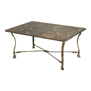 Vintage French Coffee Table with Fossilized Top For Sale