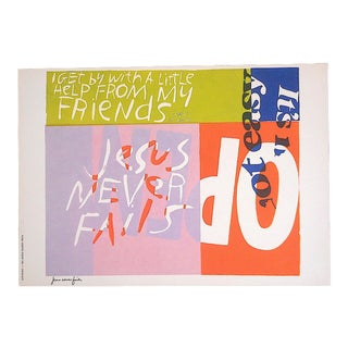 """Vintage Abstract Lithograph-Sister Mary Corita Kent - """"Jesus Never Fails"""" For Sale"""