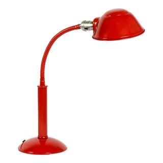 1960s Gooseneck Desk Lamp Refinished in Fire Engine Red For Sale