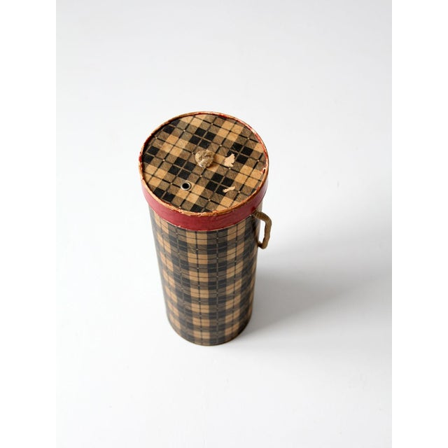 Mid-Century Plaid Tote Box For Sale - Image 6 of 8