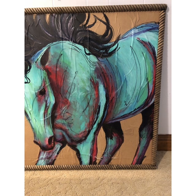 Expressionism Contemporary Original Acrylic Mixed Medium Painting of Horse For Sale - Image 3 of 5
