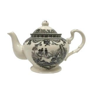 """9-1/4"""" Equestrian Transferware Porcelain Teapot - Antique Reproduction For Sale"""