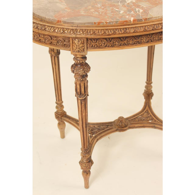 1930s Louis XVI Carved Marble Top Table For Sale In Los Angeles - Image 6 of 13