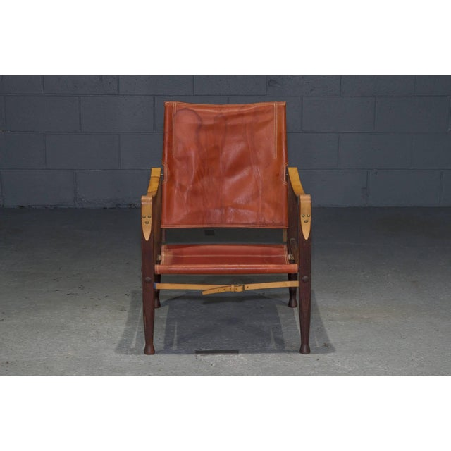 Red Red Leather Safari Chair by Kaare Klint for Rud Rasmussen For Sale - Image 8 of 8