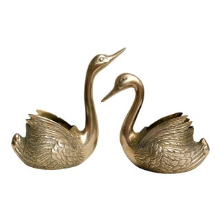 Vintage Brass Swan Planters - a Pair For Sale