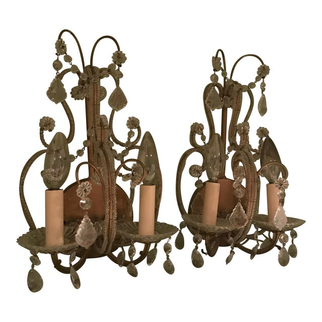 French 2-Light Candelabra Crystal Wall Sconces - A Pair - Image 1 of 4