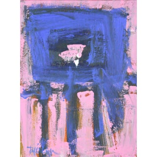 Cobalt on Pink Layers Contemporary Abstract Painting For Sale