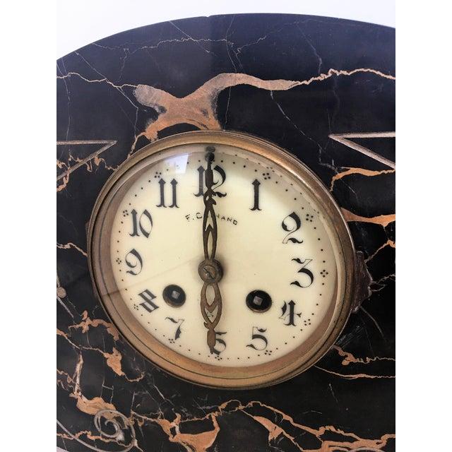 Bronze 1920s Vintage Art Deco Marble Mantel French Bronze Clock & Garnitures - Set of 3 For Sale - Image 7 of 8