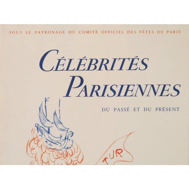 Parisian Celebrities, 1956 Original Vintage Poster, Cheret Style For Sale - Image 4 of 5