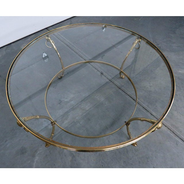 Regency Style Brass Glass Top Coffee Table For Sale - Image 4 of 7