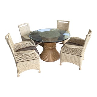 Boho Chic McGuire Rattan and Glass Dining Set - 5 Pieces For Sale