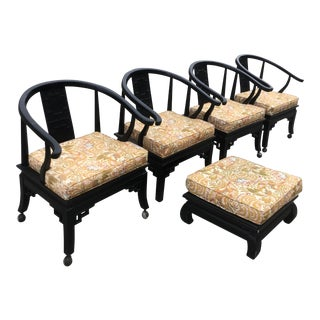 Century Mid-Century Asian Yoke Back Chairs With Footstool - Set of 5 For Sale