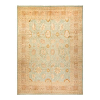"""Mogul, One-Of-A-Kind Hand-Knotted Area Rug - Peach, 10' 4"""" X 13' 10"""" For Sale"""