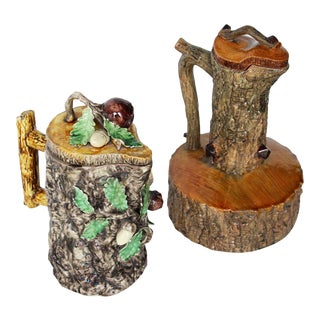 Antique Portuguese Set of Two Palissy Ware Majolica Water Ewer, Cork Oak Decor - a Pair For Sale