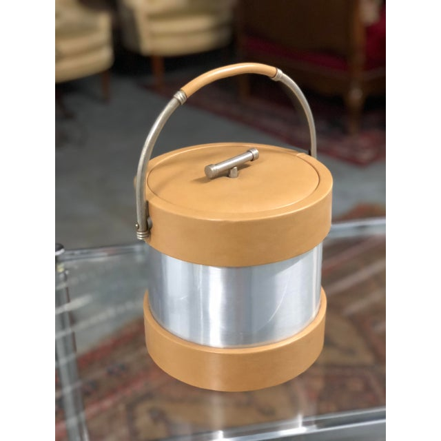 Art Deco Vintage Vinyl and Chrome Ice Bucket For Sale - Image 3 of 7