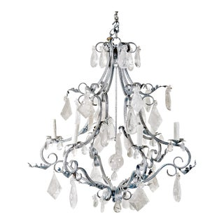 1990s Rock Crystal Vintage French Style Chandelier For Sale