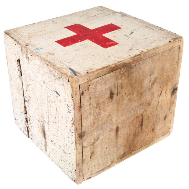 Vintage French Wood First Aid Box - Image 3 of 5