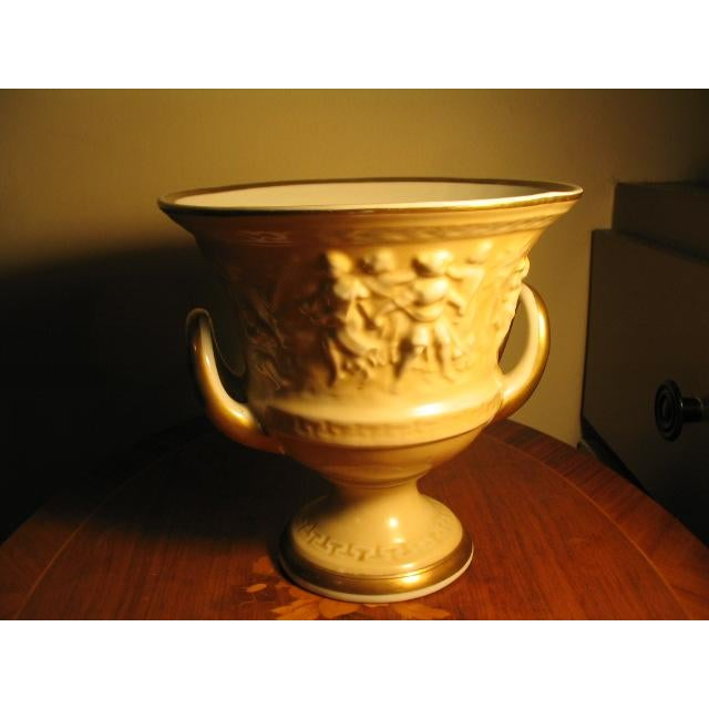 Vintage Von Schiermolz Large Urn With Gold Trim & Handles For Sale - Image 4 of 5