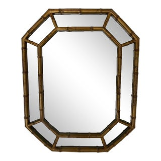 Mid 20th Century Vintage Faux Bamboo Patina Gold Mirror For Sale