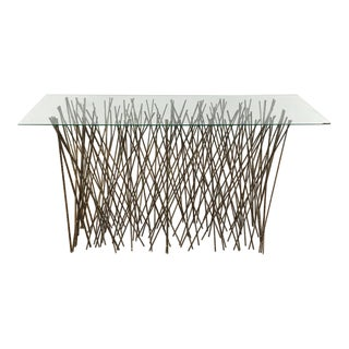 Contemporary Palecek Glass Top Twig Console Table For Sale