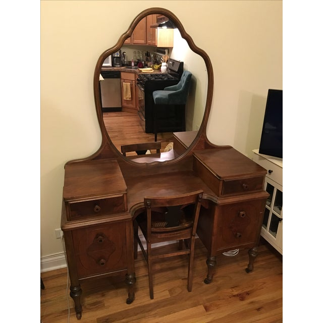 Restored Antique Vanity with Matching Chair - Image 2 of 3