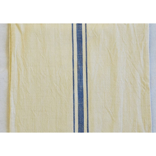 "Early 21st Century French Farmhouse Blue Striped Table Runner 110"" Long For Sale - Image 5 of 8"