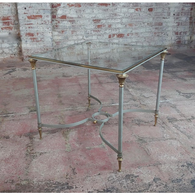 1970s Vintage Brass French Side Tables W/Square Glass Top- a Pair For Sale - Image 5 of 10