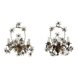 Pair French Bronze Basket Form Sconces with Crystal Flowers For Sale