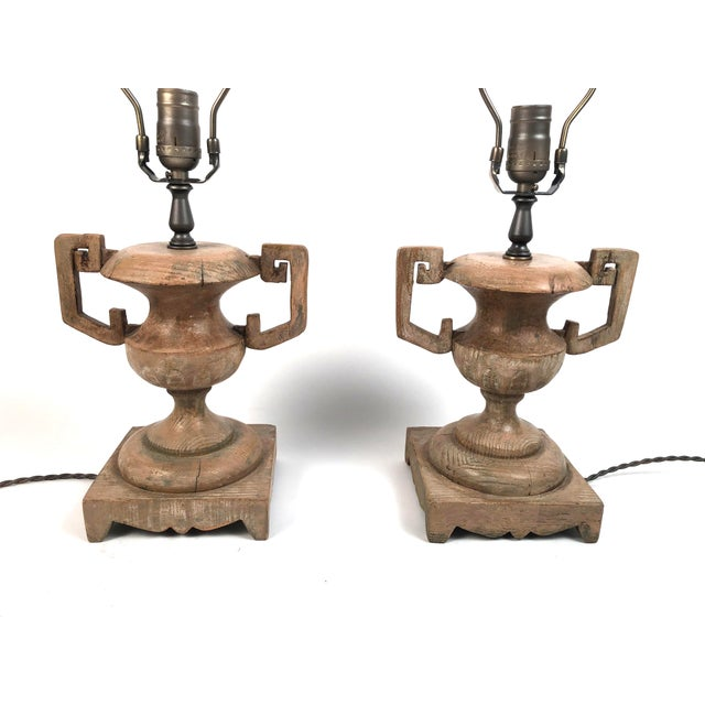 French Neoclassical Carved Wood Vase Lamps - a Pair For Sale In Boston - Image 6 of 10