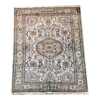 1980s Silk 400 Kpsi Persian Style Silk Qum Rug For Sale