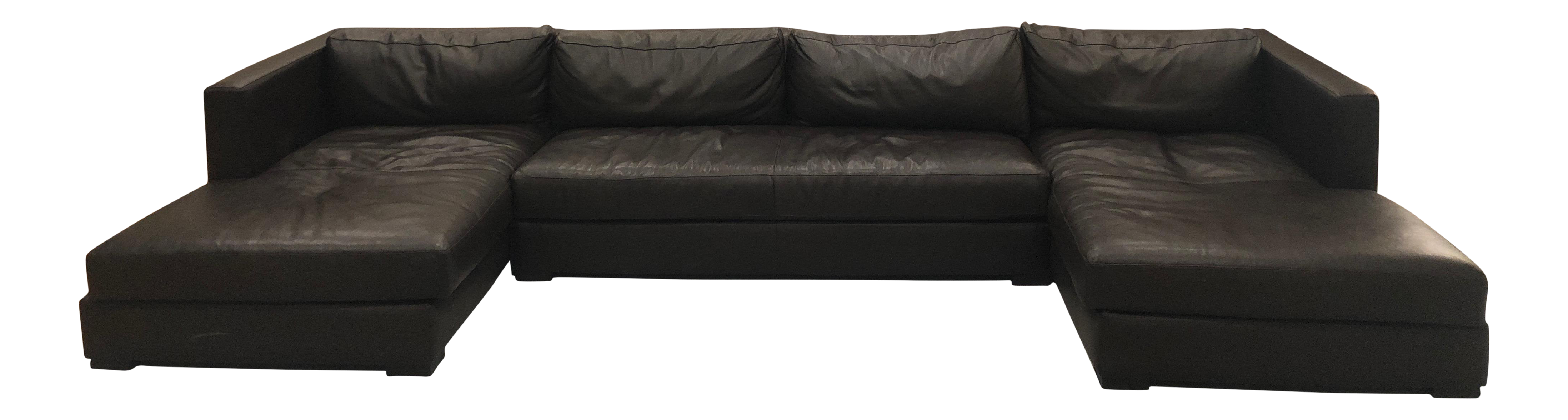 Restoration Hardware 1970s Design Modern U Chaise Sectional Leather