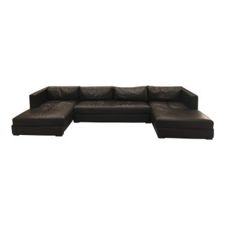 Restoration Hardware 1970s Design Modern U Chaise Sectional Leather Sofa For Sale