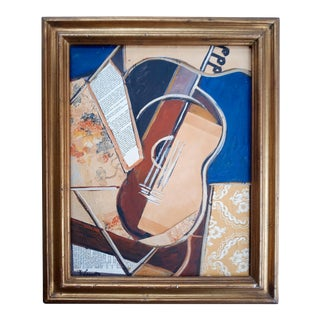"""Mid 20th Century """"Instrument"""" Cubist Mixed-Media Oil Painting, Framed For Sale"""