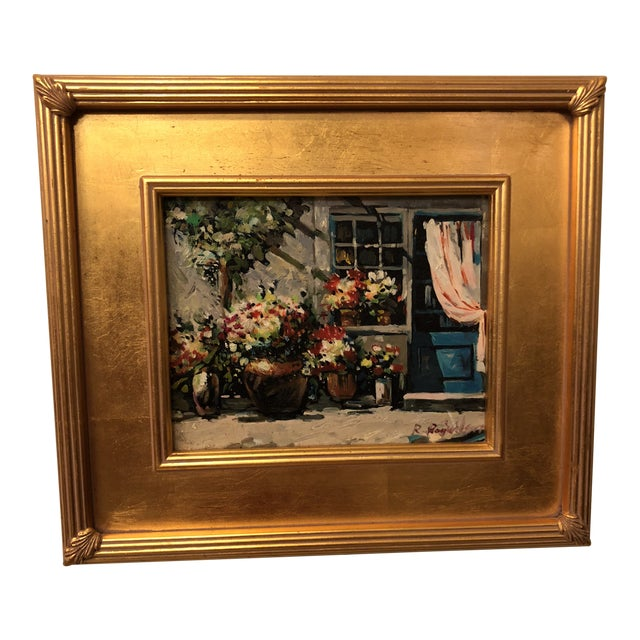 1980s Impressionistic Outdoor Garden Oil on Canvas Painting For Sale