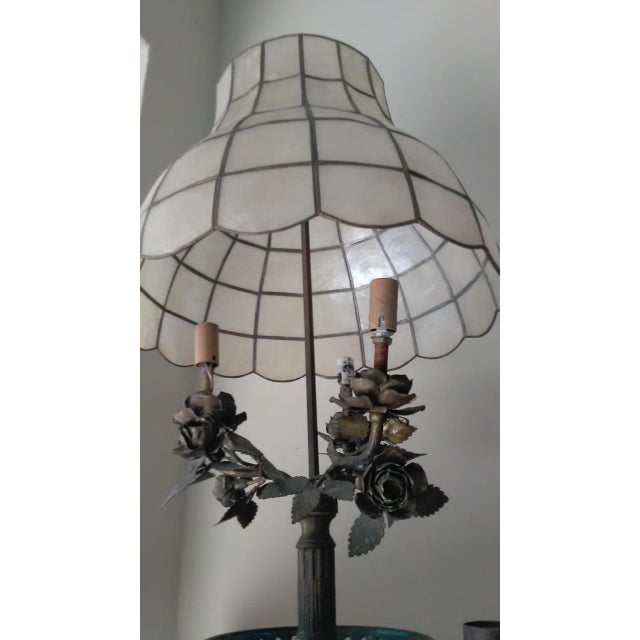 Antique Steel & Brass Roses Lamp - Image 4 of 9