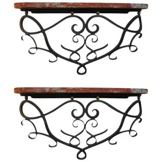 Jean Royere Inspired French Art Deco Wrought Iron Wall Consoles - a Pair
